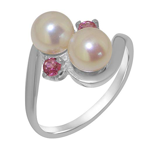 (LetsBuyGold 10k White Gold Cultured Pearl & Pink Tourmaline Womens Anniversary Ring - Size 4)