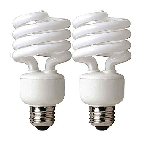 TCP CFL Mini Spring A Lamp, 100W Equivalent, Soft White (2700K) Everyday Spiral Light Bulb (2 Pack)