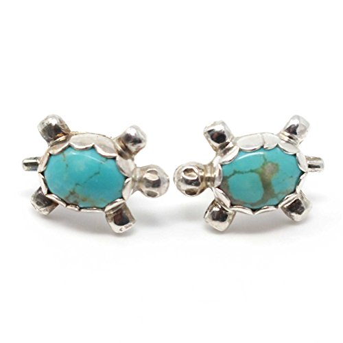 Zuni Turquoise & Silver Turtle Post Earrings by Hooee (Turquoise Earrings Turtle Silver Sterling)