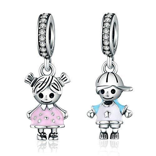SCC544 Breloque petite fille et petit gar/çon en argent sterling 925 pour bracelet /à breloques