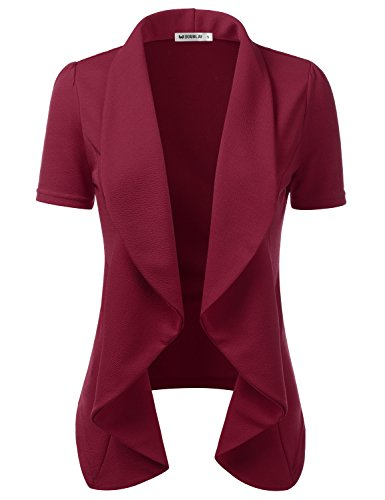 Ruby Denim Sweater - CLOVERY Women's Short Sleeve Lightweight Chiffon Open Front Blazer Ruby 2XL Plus Size