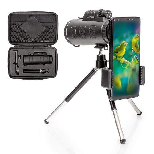 - Armstrong 10x42 Zooming Monocular Telescope with Smartphone Photography Accessories - High Definition Zoom Prism Lens Scope for Hunting Bird Spotting - Compatible with iPhones - Samsung - Android