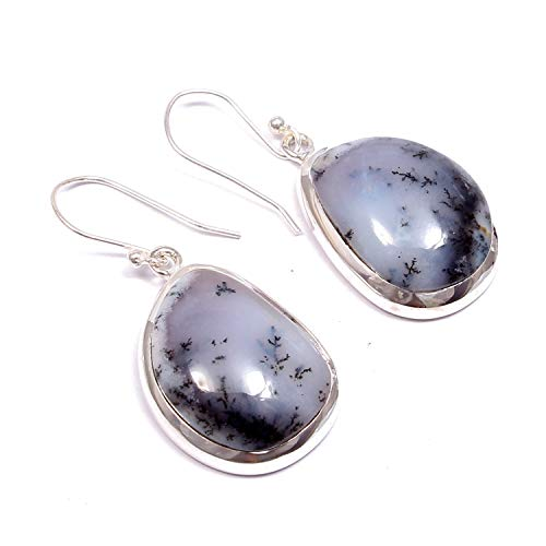 ❤️❤️ Natural Dendritic-agate ️Dangle Drop Earrings ❤️❤️ | 925 Sterling Silver | Handcrafted Designer Stylish Charm Fashion Jewelry | Gift for Women, Ladies and Girls | Fancy Shape