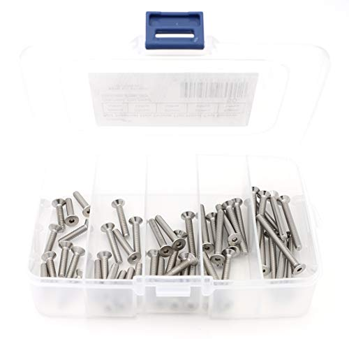 - iExcell 50 Pcs M4 x 20mm/25mm/30mm/35mm/40mm Stainless Steel 304 Hex Socket Drives Flat Head Cap Screws Kit, Fully Threaded