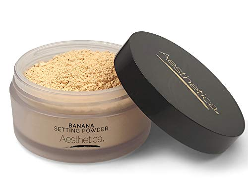 Aesthetica Banana Loose Setting Powder – Flash Friendly Superior Matte Finish Highlighter & Finishing Powder – Includes Velour Puff