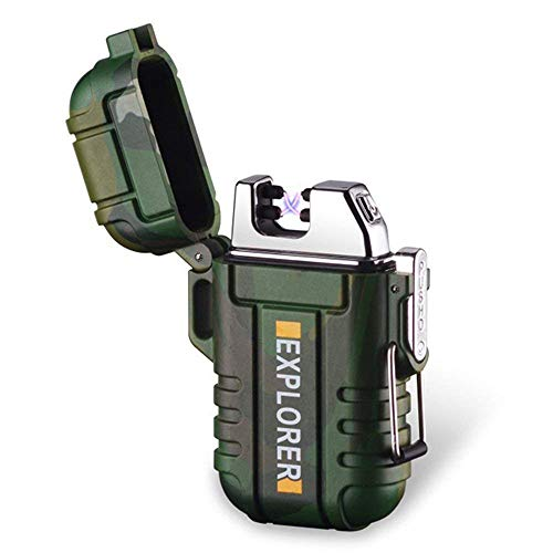 Waterproof Dual Arc Lighter,USB Rechargeable Windproof Flameless Electric Lighter with Lanyard for Outdoors Adventure Camping Hiking(Camouflage) ()