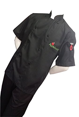 (CHEFSKIN Personalized Customize Embroidery Chef Set (3 pcs): Apron, Mushroom Hat and Professional Jacket All in Black (Embroidery in Hat and Apron only))