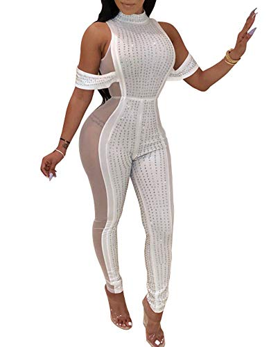 (Nhicdns Womens Sexy Rhinestone See Through Jumpsuit Bodycon Halter Neck Backless Romper Club wear)