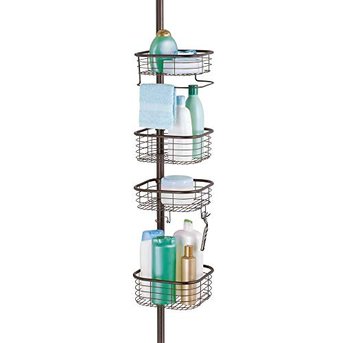 mDesign Metal Bathroom Shower Storage Constant Tension Pole Caddy - Adjustable Height - 4 Positionable Baskets - for Organizing and Containing Hand Soap, Body Wash, Wash Cloths, Razors - Bronze