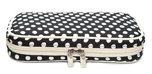 Simple Accessories Jewelry & Accessories Travel Organizer Bag Case with Zipper Closure (White & Black Polka Dot Exterior & Beige Interior)