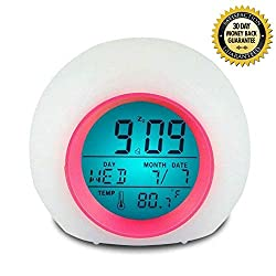 I2USHOP Alarm Clock for Kids Bedroom, Wake Up Light Digital Clock with Indoor Temperature & Calendar & 6 Natural Sound & 7 Colors Changing Light (Rose)
