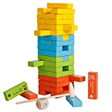 YIRAN Kids Colored Tumbling Tower Toppling Tower Game 51 Pieces Classic Building Blocks Jumbling Tower Blocks with Dice