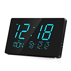 Rcm 14 Oversized LED Digital Wall Clock with Indoor Temperature, Month & Date, Week of Day, Fold-Out Stand can be Place on Any Surface Desk Top (Blue)
