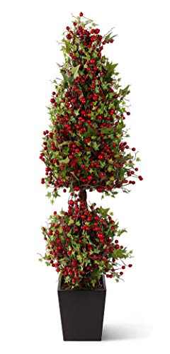 (K&K Home Artificial Topiary Tree 37 Inch Berry and Leaf Topiary in)
