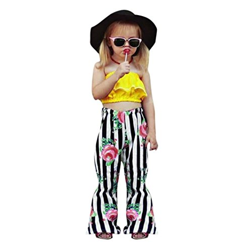 799a5538a6 Off Shoulder Tops+Floral Striped Pants Outfits 1-
