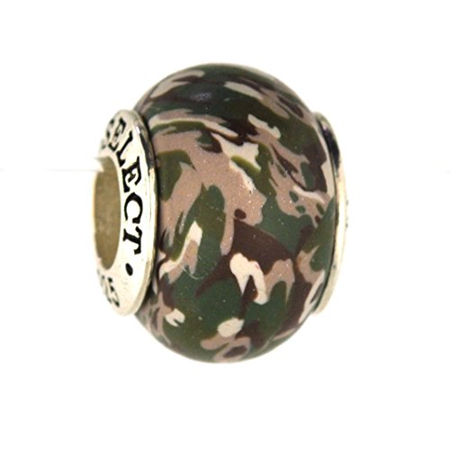 Army Multicam Deployment Camo Camouflage Awareness Ribbon Bead Charm for Add-A-Bead Bracelets Clay & Sterling Silver by MAYselect (Star Eyelet Multi)