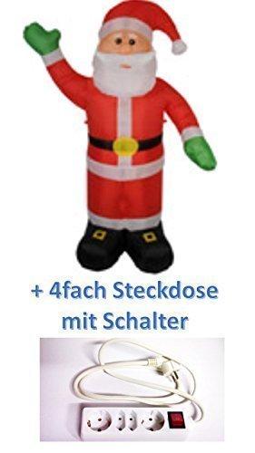 Weihnachtsmann figur aufblasbar beleuchtet 240 cm groß für innen außen + 4-fach Steckdose mit Schalter