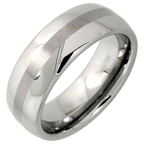 (Sabrina Silver Tungsten Carbide 8 mm Domed Wedding Band Ring Narrow Center Stripe Etching, size 9)