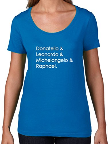 [Ninja Turtle Names - Womens Scoop Neck T-Shirt - Royal Blue Small] (Blue Ninja Turtle Name)