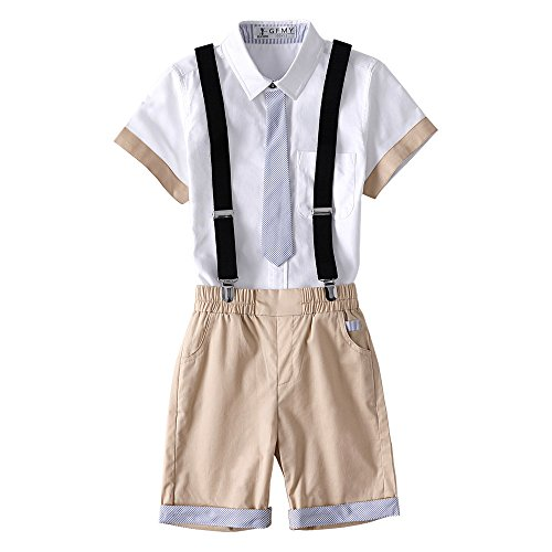 Kungfu ant Kids Boys 2 Pcs Gentleman Short Sleeve Tie Shirt and Overalls Shorts Sets for 2 to 10 Age Little Boys (Khaki, 110(3-4 Years))