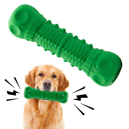 Dog Chew Toys Dog Toys for Aggressive Chewers Large Breed Tough Durable Teeth Cleaning Skull Bones Dog Toys Natural Rubber Squeak Nearly Indestructible Dog Toys
