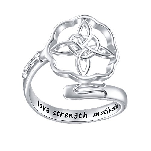 Inspirational Jewelry Sterling Silver Engraved Love Strength Motivation Celtic Cross Wrap Ring Graduation Gift for Her