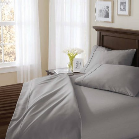 Better Homes and Gardens 400 Thread Count Solid Egyptian Cotton True Grip Bedding Sheet Set, Full, Light School Gray