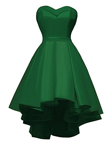 ort Ball Gown Wedding Bridesmaid Dress High-Low Satin Prom Gowns Green,2 ()