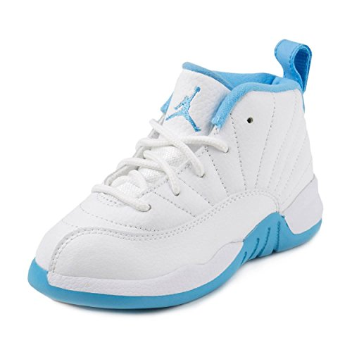 (Nike Jordan 12 Retro GG White/Metallic Gold-University Blue Leather Size 7C)