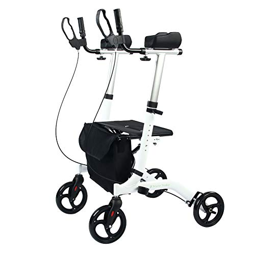 (BEYOUR WALKER Upright Rollator Walker Euro Style Stand Up Walking Aid White)