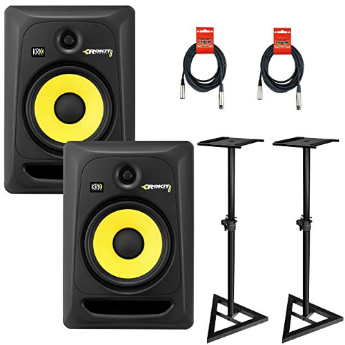 KRK Rokit 8 G3 Two-Way Active Studio Monitor W/ JS-MS70 Monitor Stands & Cables