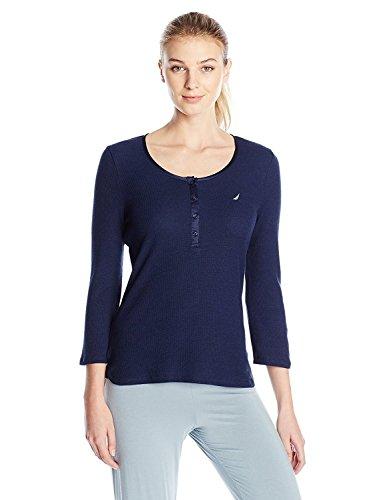Nautica Sleepwear Women's Knit Waffle Solid Henley Pajama Top (X-Small, Maritime Navy)