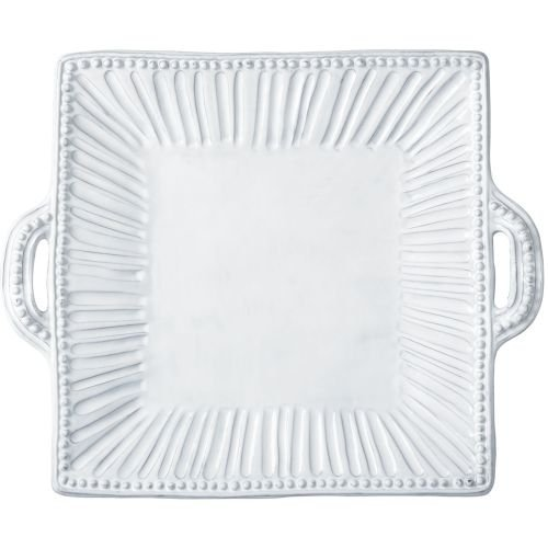 Vietri INC-1128 Incanto Stripe Square Handled Platter, White