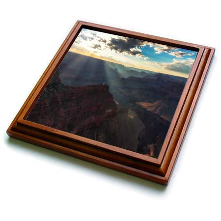 Sunrays Framed - 3dRose Mike Swindle Photography - Landscapes - Sunrays in the Canyon - 8x8 Trivet with 6x6 ceramic tile (trv_303521_1)