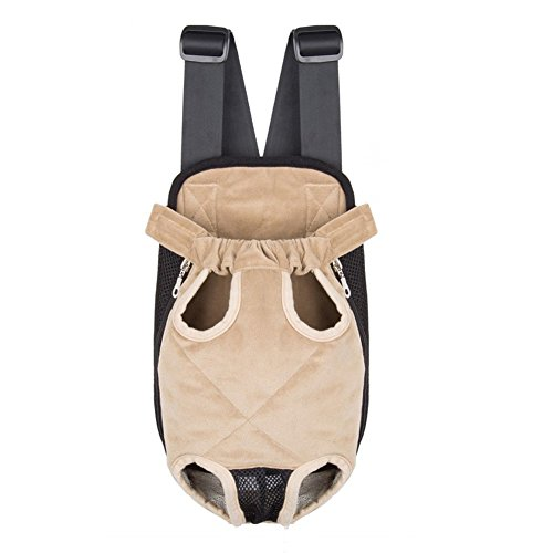 Lifeunion Hands Free Pet Front Carrier Dog Travel Carrier Bag Backpack Legs Out for Small Dog Cat (M, Beige)