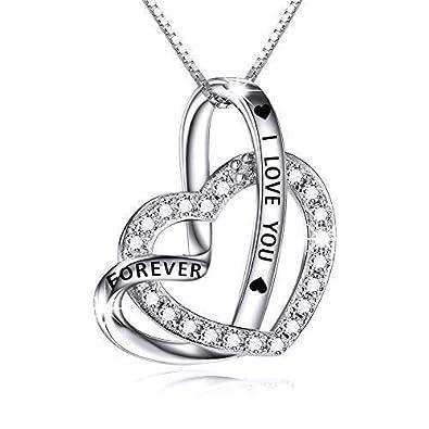 bf4b32a8e8fc Kette Damen Sterling Silber Herz Anhänger Halskette I Love You Forever  Zirkonia Ketten für Damen  Amazon.de  Schmuck