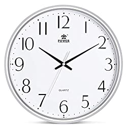 POWER 13-Inch Round Non-Ticking Silent Wall Clock Decorative, Battery Operated Quartz Analog Quiet Wall Clock, for Living Room, Kitchen, Bedroom (Silver)
