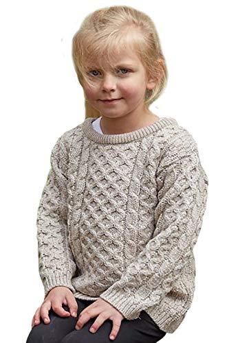 100% Irish Merino Wool Little Boy's Crew Neck Aran Sweater 2-3