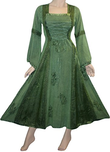 [001 DR Medieval Peasant Vintage Bell Sleeve Dress [Green; Small]] (Green Medieval Dress)