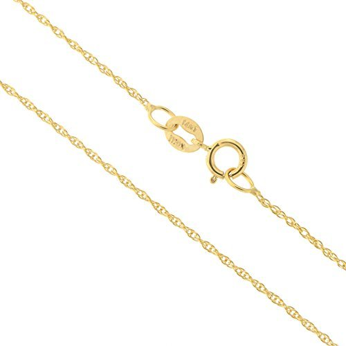 14k Yellow Gold Italian 0.90mm Delicate Rope Chain Necklace, 17