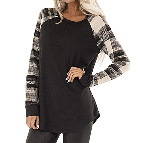 f607cebef240 WOCACHI Final Clear Out Womens Blouses Long Sleeve Striped Patchwork Shirt  Crew Neck Loose Tops Black