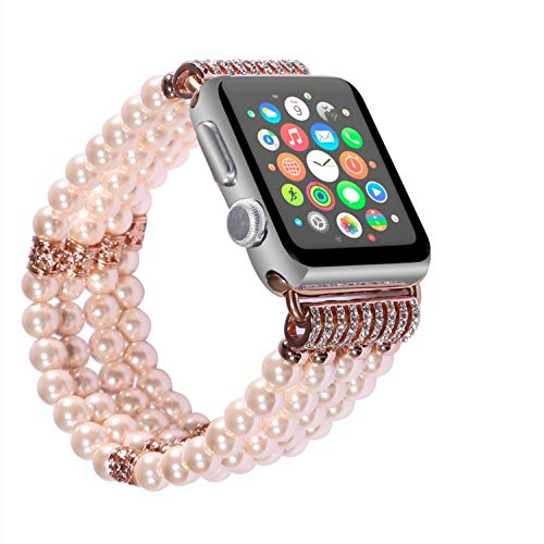 Solomo Bracelet Compatible for Apple Watch Band 42MM 44MM, Decorated Handmade Luxury Jewelry Faux Pearl Bracelet Elastic Stretch iWatch Strap with Women Wristband for Iwatch Series 4/3 / 2/1 (Pink)
