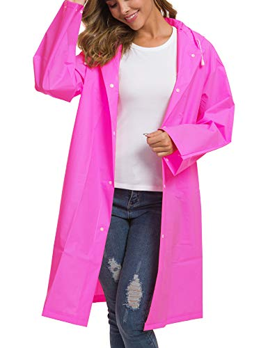 Besshopie Rain Poncho Raincoat Women Rain Hooded Coat Rain Jacket Travel Outdoor Light Poncho Rain Gear Rose Red L