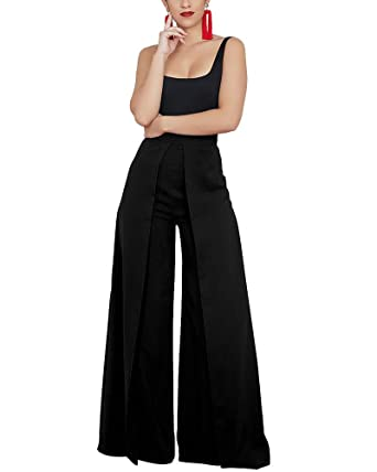 533f70321211b Image Unavailable. Image not available for. Color  JIREH Women Plus Size  Wide Leg Pant Pleated ...
