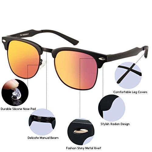 Dollger Classic Polarized Clubmaster Sunglasses Horn Rimmed Half Frame … Red Mirror Lens+black Frame