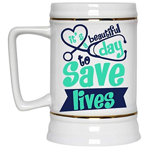 Christmas Mug, I'm A Doctor Beer Mug, It's A Beautiful Day To Save Lives Beer Stein 22oz]()