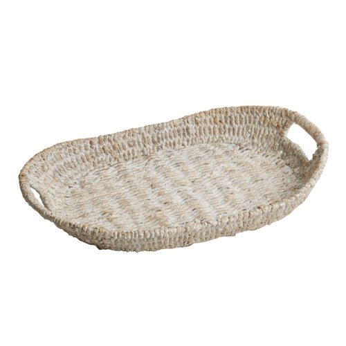 White Platter Leaf (Woodard & Charles Whitewash Abaca Oval Tray with Handles)