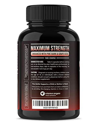 Nitric Oxide Supplement with L Arginine, Citrulline Malate, AAKG, Pine Bark & Grape Seed Extract - Powerful NO Booster for Muscle Growth, Strength, Vascularity, Energy & Blood Flow- 120 Vegan Capsules