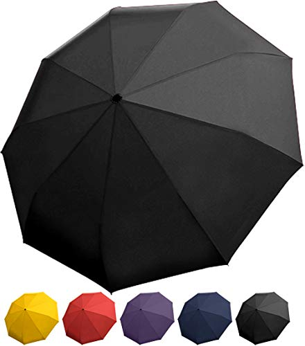 Rain Guard Windproof Umbrella, Compact Auto Open/Close, DuPont Teflon-coated & Lightweight, Black