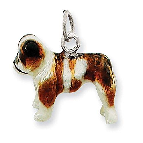 Charm émaillé en argent Sterling Motif Bulldog JewelryWeb
